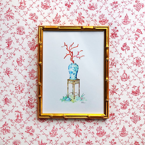Chinoiserie Vignette: Coral Branch