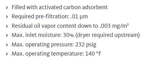 activated carbon adsorption towers specs