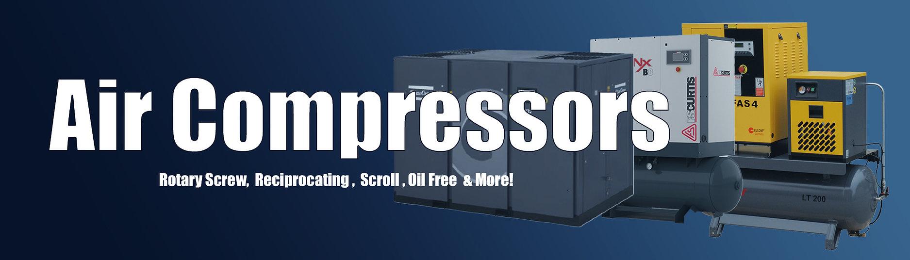 Rotary Screw Air Compressors, Reciprocating Air Compressors, Oil Free Air Compressors , FS Curtis Air Compressors, First Air Air Compressors, Atlas CopCo Air Compressors
