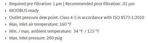 ra vsd series refrigeration dryers specs