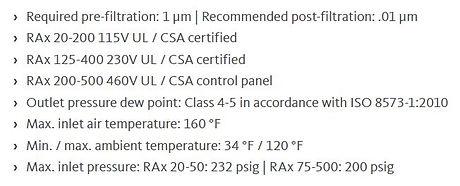 rax premium refrigeration dryers specs.J