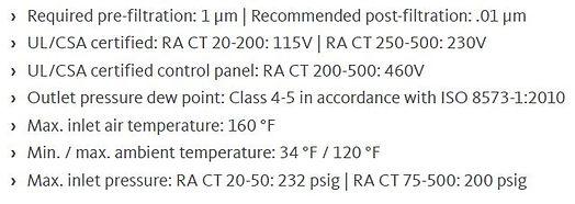 ra ct series refrigeration dryers specs.