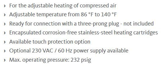 H threaded compressed air heaters specs.