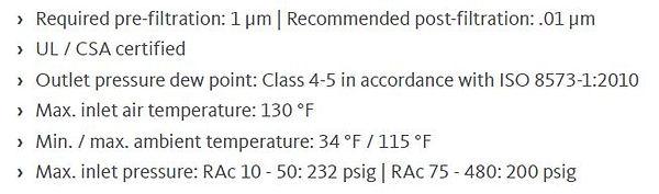 RAC economy refrigeration dryers specs.J