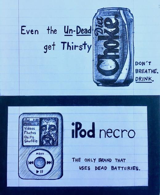"Diet Choke & iPod Necro ads (""American Zombie"" 'Zine)"