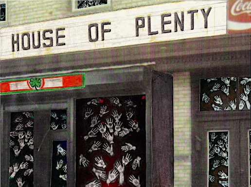 """Beggars In The House Of Plenty"" postcard"