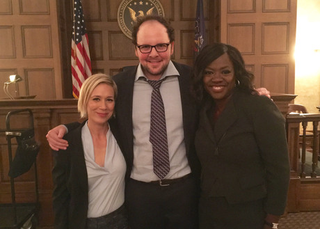 "Austin with the lovely Liza Weil & the extraordinary Viola Davis on the set of ""How To Get Away With Murder"""