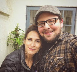 "Austin sharing a parting selfie with the awesome Michaela Watkins on the set of ""Casual"""