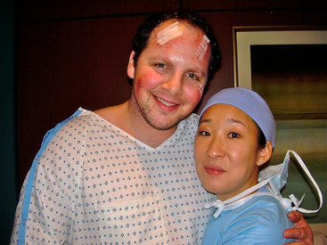 "Austin with the magnificent Sandra Oh on the set of ""Grey's Anatomy"""
