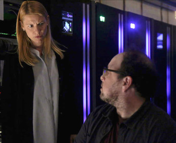 """Production still of Austin, as Lonnie, in a stand-off with Claire Danes' Carrie Mathison in """"HOMELAND"""" (Season 8, Episode 6 """"Two Minutes"""")"""