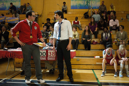 """Austin facing off with Kris Polaha in a set photo from the """"Team Rebounded"""" episode in Season 2 of """"Life Unexpected"""""""