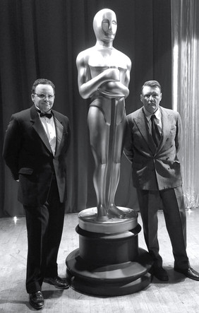 "Austin (as David O. Selznick) with Ilia Volok (as Leonid Antonov) on the set of ""First Oscar"""