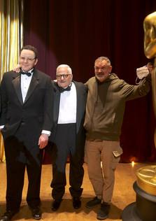 "Austin, with Oscar-nominated actor Michael Lerner & Russian director Sergey Mokritskiy, on the set of ""First Oscar"""