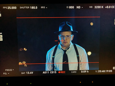 """Behind-the-scenes shot of Austin as David O. Selznick in the short film, """"First Oscar"""""""