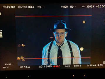 "Behind-the-scenes shot of Austin as David O. Selznick in the short film, ""First Oscar"""