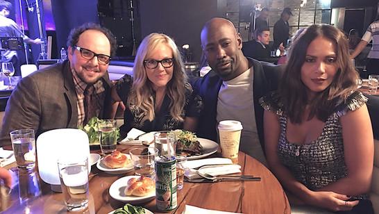 "Austin having fun with Rachael Harris, DB Woodside & Lesley-Ann Brandt on the set of ""Lucifer"""