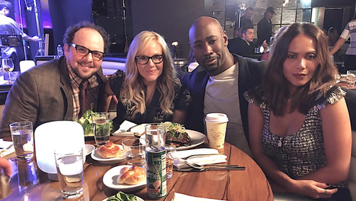 "Austin having fun with Rachael Harris, DB Woodside & Lesley-Ann Brandt on the set of ""Lucifer"""
