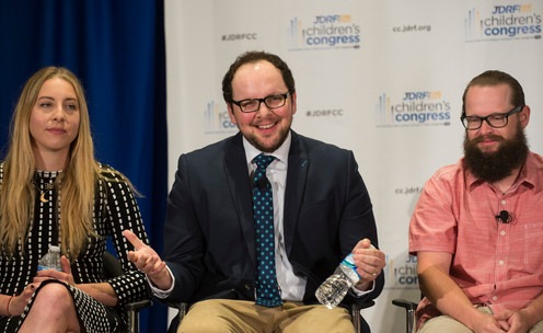 Austin with rockstar Este Haim & pro-snowboarder Sean Busby participating in the Town Hall Role Model Panel at 2015 JDRF Children's Congress in Washington, D.C.