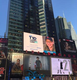 "Austin's JDRF ""T1D Looks Like Me"" billboard in Times Square"