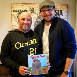 """Austin with his brother Jeremy, co-writers of their 1st children's book """"Zoo's On First"""", illustrated by Dave Maulbeck"""