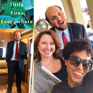"""Austin with wife, Colleen Basis, and close friend, Kerry Washington, on the set of """"Little Fires Everywhere"""""""