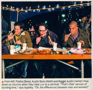"""TV Guide production still of Austin as churro-chugging Math Rogers in """"Life Unexpected"""" with castmates Kris Polaha & Reggie Austin"""