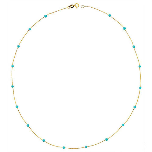 Gold Turquoise Pave Necklace