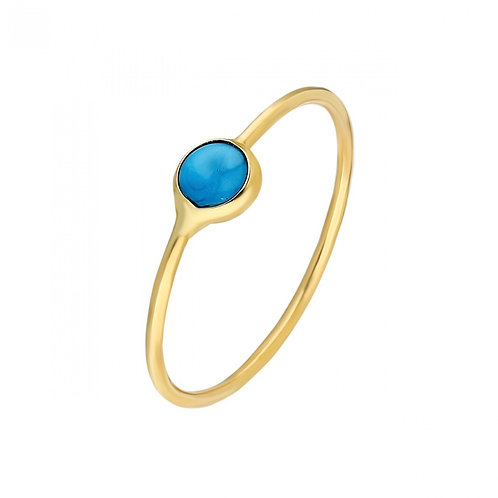 Ring Gold Turquoise Pave