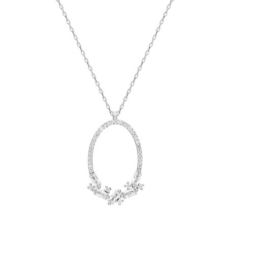 Silver Oval Baget Necklace