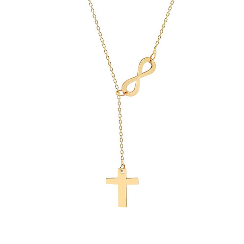 Gold Cross Infinity Halskette