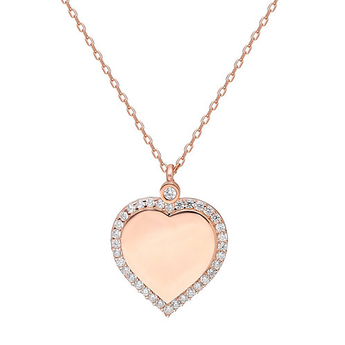 Silber Pave Heart Necklace