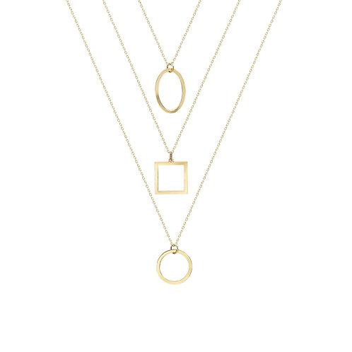 Gold Geometric Combine Necklace