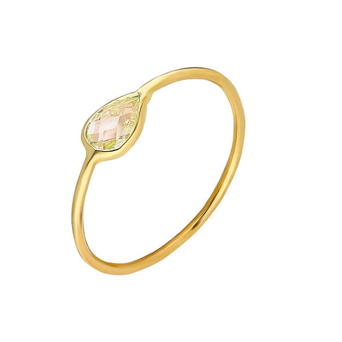 Ring Gold Yellow Pave Drop