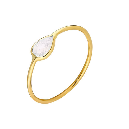 Ring Gold White Pave Drop