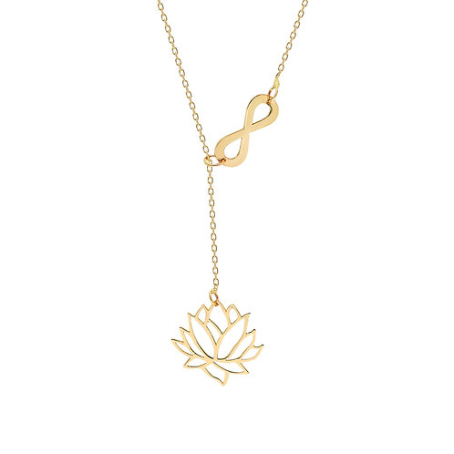 Gold Lotus Infinity Necklace
