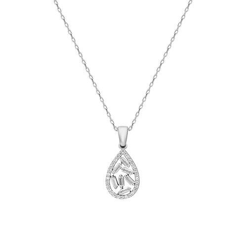 Silver Baget Pave Drop Necklace