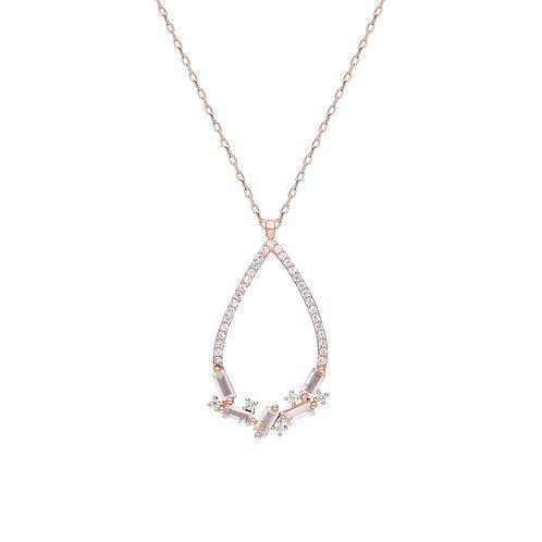 Silber Pave Drop Halskette