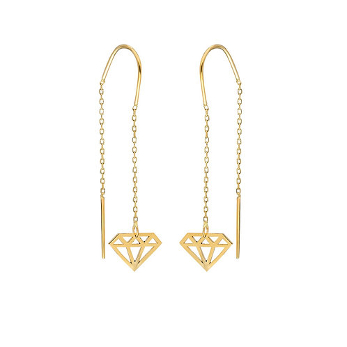 Gold Diamond Cut Earrings