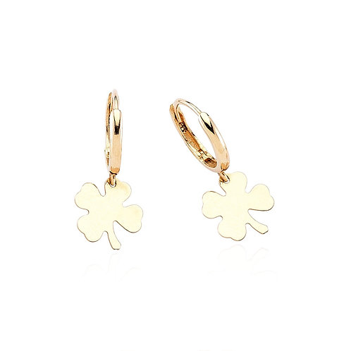 Gold Clover Hoop Earrings