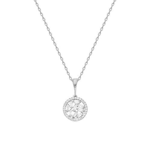 Silver Round Baget Necklace