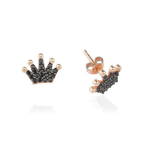 Silver Crown Black Earrings