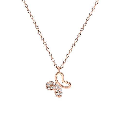 Silber Rose Butterfly Halskette