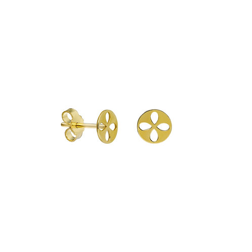 Gold Clover Circle Stud Earrings