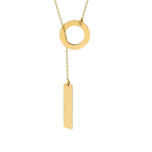 Gold Circle Plate Necklace