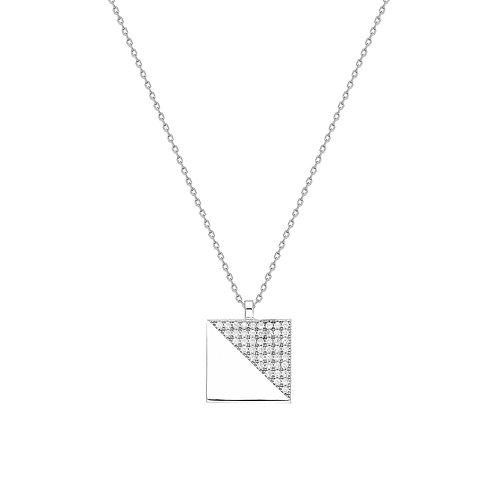 Silver Geometric Halskette