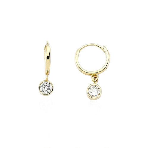 Gold Hoops Earrings White