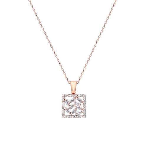 Silver Square Baget Necklace
