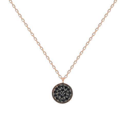 Silber Round Black Halskette