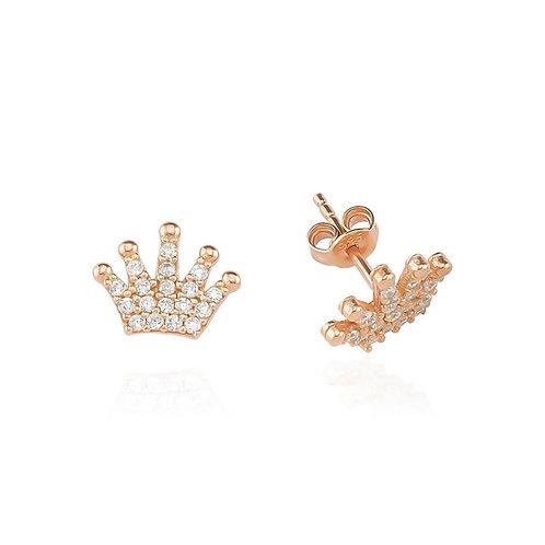 Silver Crown Golg Earrings