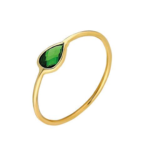 Ring Gold Green Pave Drop